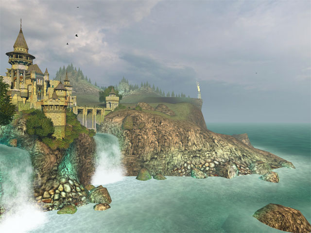 3D screensaver of a cool fantasy castle with thick walls and tall towers.