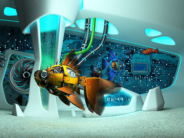 Turn your screen into a three-dimensional sci-fi aquarium! Ponder the unhurried swimming of incredible mechanical fish moving among the whimsical shapes of the future.