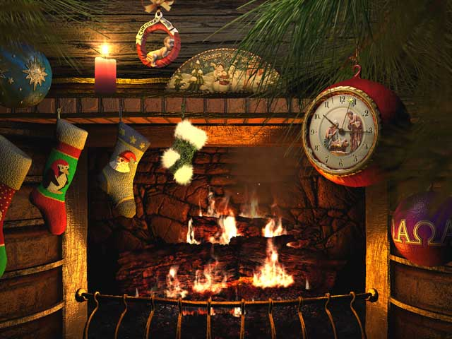 Fireplace 3D Screensavers Fireside Christmas Animated