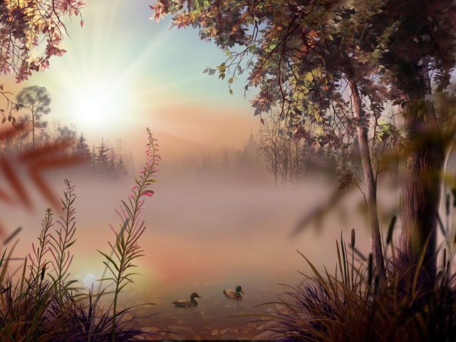 The calm lake surface reflects the rising sun, shining gently through the mist. In the middle of the lake, half-hidden in the haze, there is a still fish-boat. The nature is awakening, accompanied with musical sounds. This is Fog Lake Screensaver.