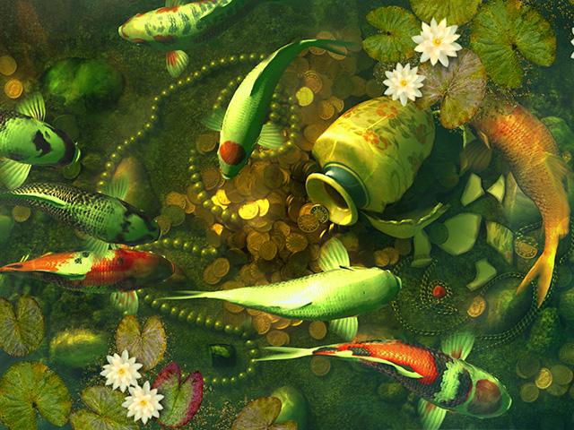 Fische 3d bildschirmschoner koi pond treasures for Koi pond screensaver