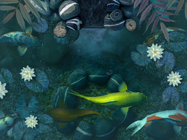 fish 3d screensavers koi pond waterfall