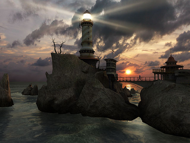 Admire a soothing ocean view by a lighthouse.