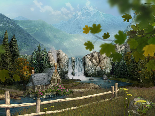 Behold the breathtaking mountain waterfall.