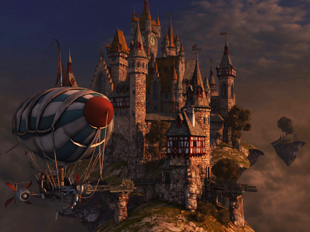 Fantasy 3d Screensavers Sky Citadel Heavens Harbor On
