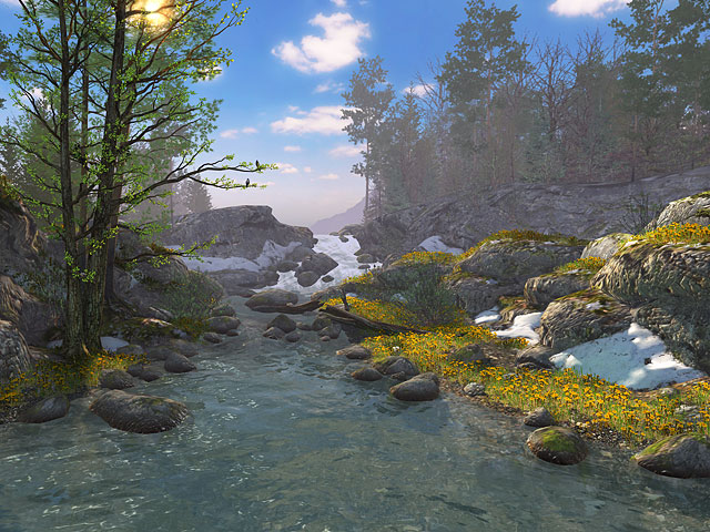 Animated springtime 3D screensaver