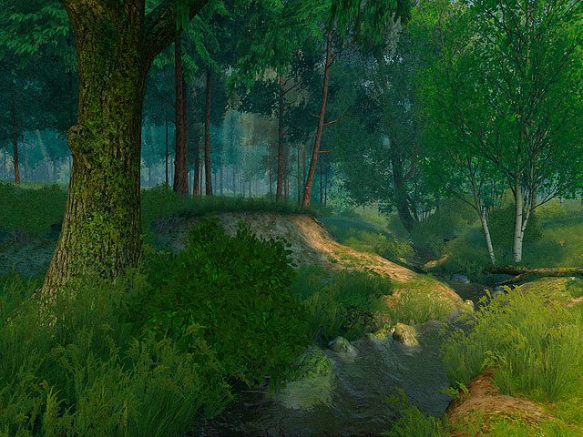 Tired of city noise? Get away from time itself! Download this screensaver and escape to a cloudless land on the edge of a pine forest. Sit on the sandy bank of a brook listening to the whispering breeze... Ah, if only you could pitch your tent here!